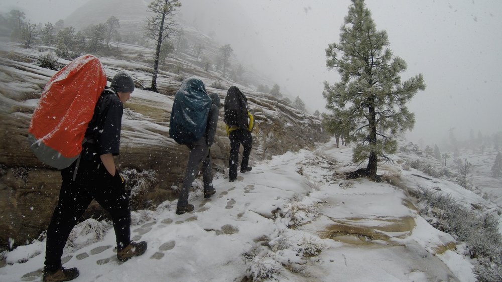 Hiking up to the west rim when the snow begins to fall