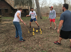Playing Spikeball during free time