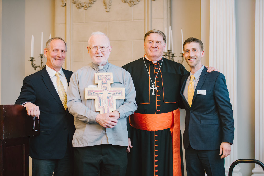 Gordy DeMarais, Fr. Philip Merdinger, B.H., Cardinal Joseph W.Tobin, and Ed Moccia