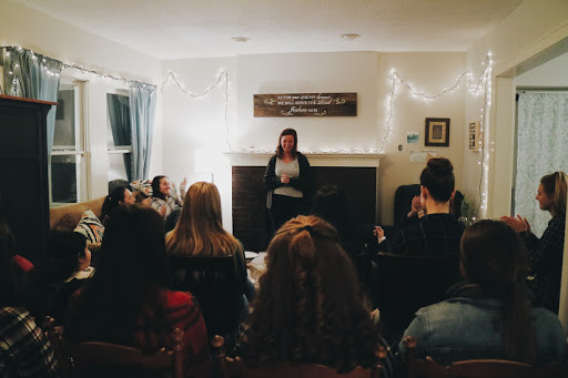 Jillian Perlaky gives a talk at our first women's night.