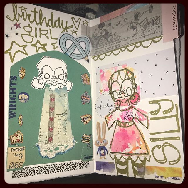 .a little #dailydrawing before bed. #myeverydaydrawings + + #JenOsborn #themessynest #fauxdorimaker #artjournal #dailydocumenting #watercolordori