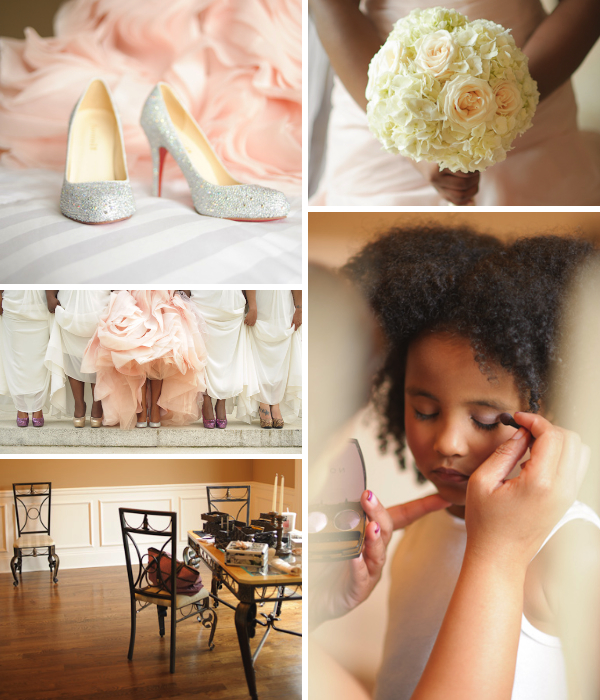 Collage of wedding details.