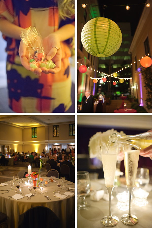 reception details - candy bar, hanging lanterns, table setting, champagne flutes
