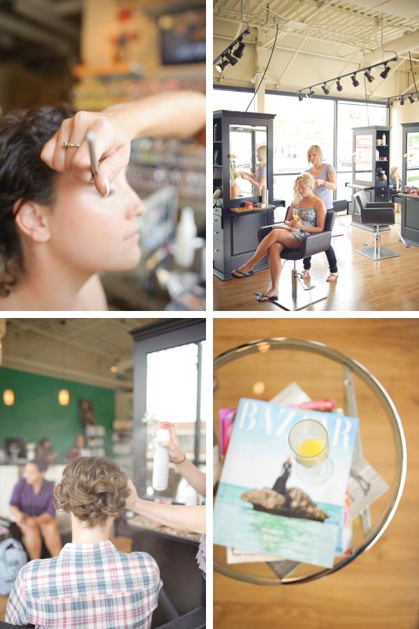 makeup, hair styling at salon, hairspray, mimosa
