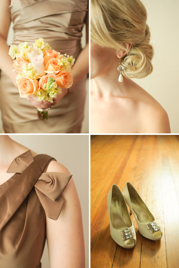 Bouquet, earring, bow, shoes