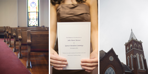 Pews, bridesmaid holding program, church steeple