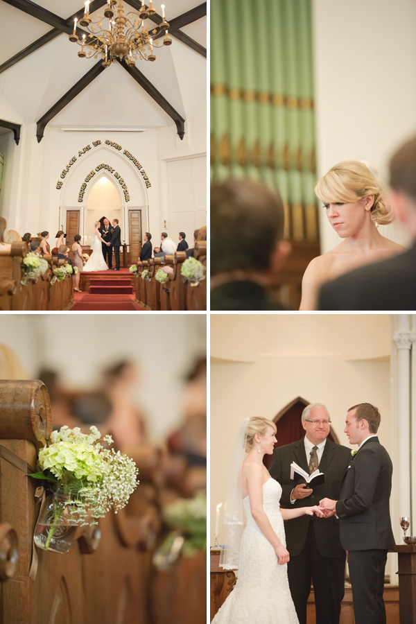 Bride and groom exchanging rings, flowers, ceremony, bride taking communion.