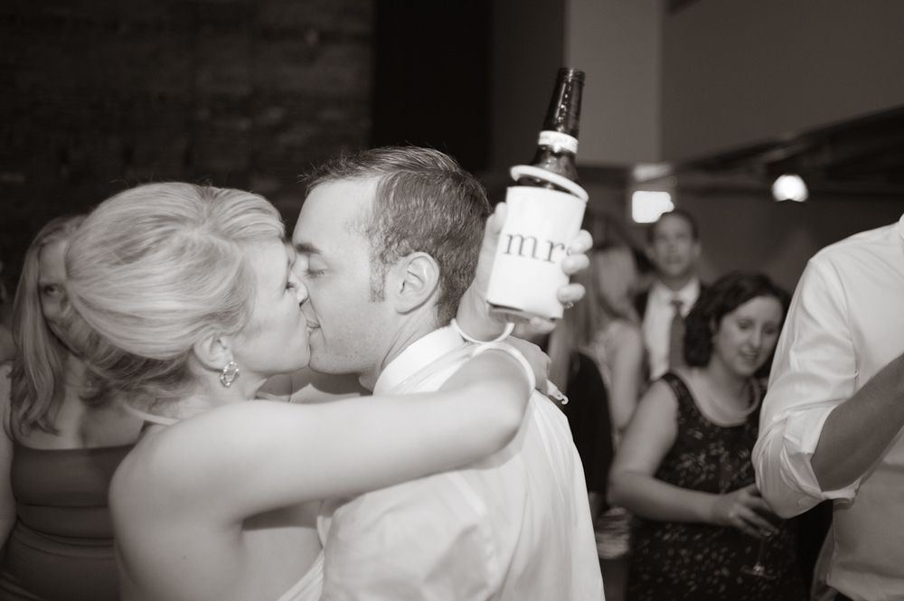 bride and groom kissing, mrs. beer coozie