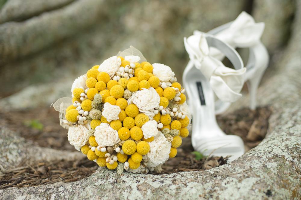 Bride's bouquet and shoes.