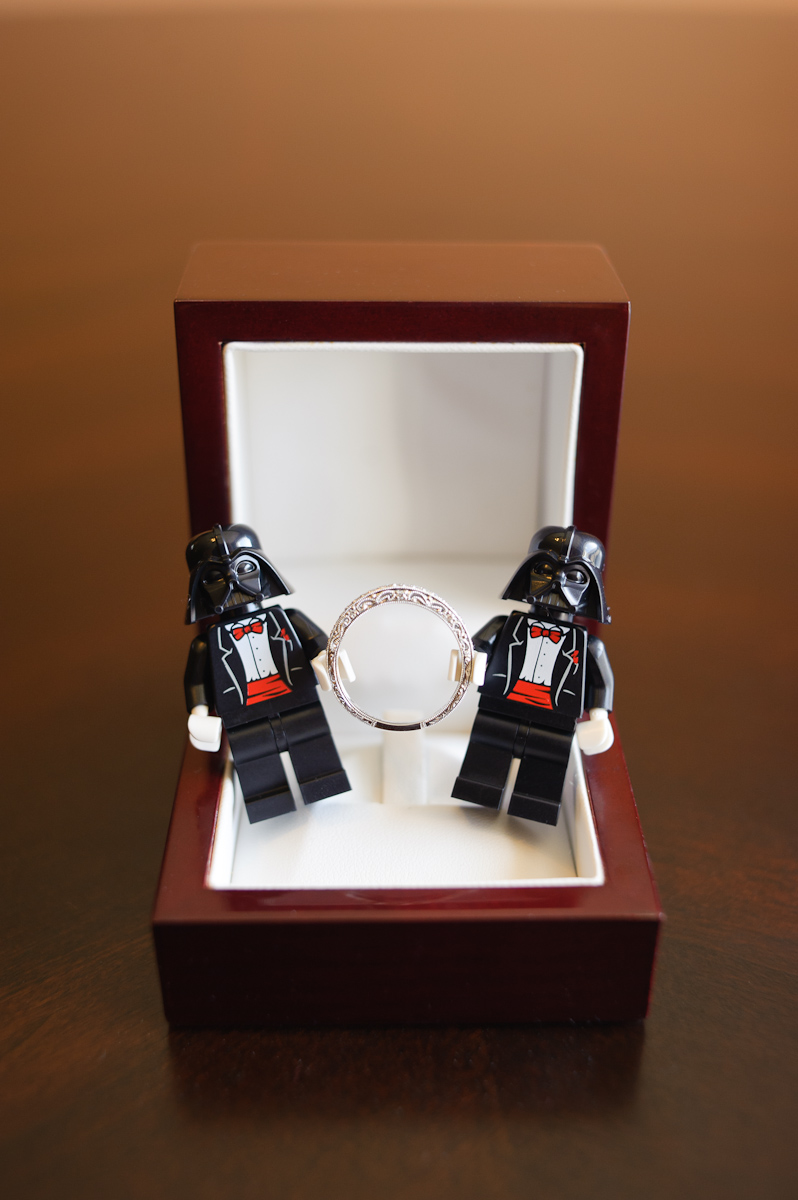 Darth Vader cuff links with bride's ring.