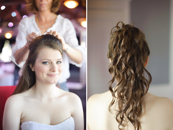 Bride with hair stylist.