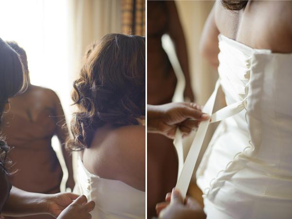Bride in her wedding dress.
