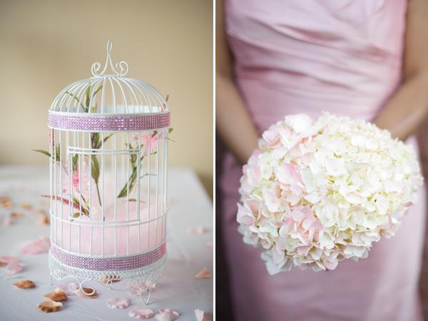 Birdcage and bridesmaid bouquet.