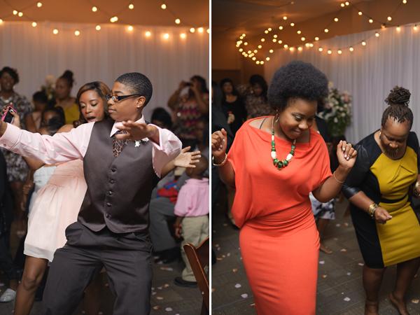 Groomsman and bridesmaid, wedding guests dancing.