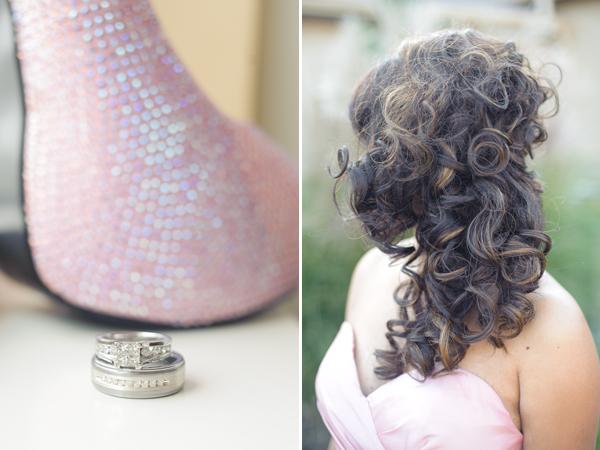 Wedding rings, bridesmaid's hair.