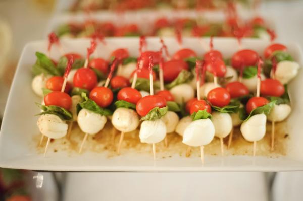 Mozzarella, tomato, basil sticks.