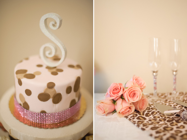 Wedding cake, roses, and champagne glasses.