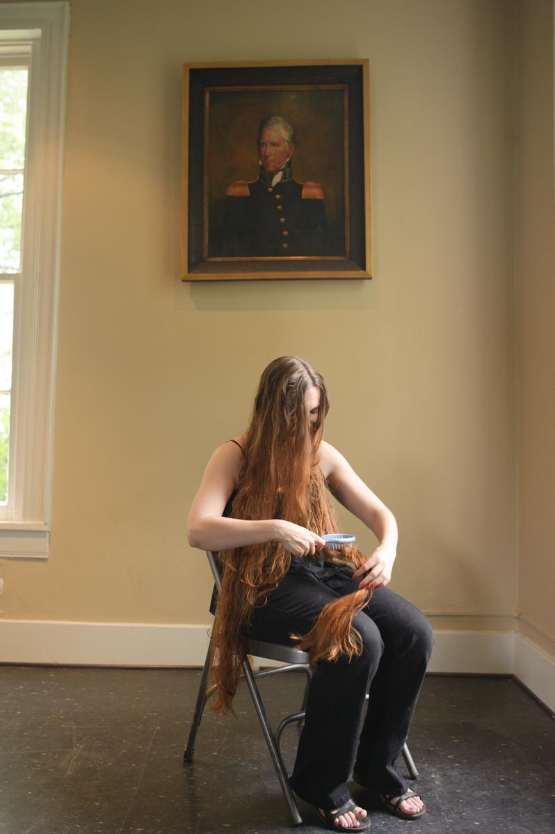 Andrew Jackson portrait hanging over bride at Travellers Rest Nashville, TN.
