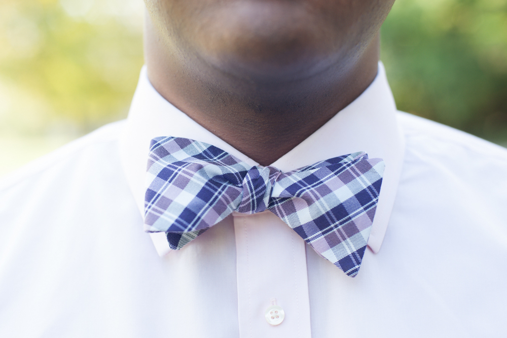 Groom with plaid bowtie and pink shirt. Nashville, TN.