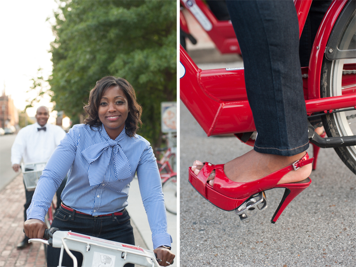 Husband and wife riding red bicycles. Red high heels.