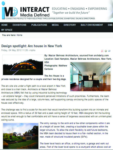 2012.1 Tech in Arch Design Spotlight
