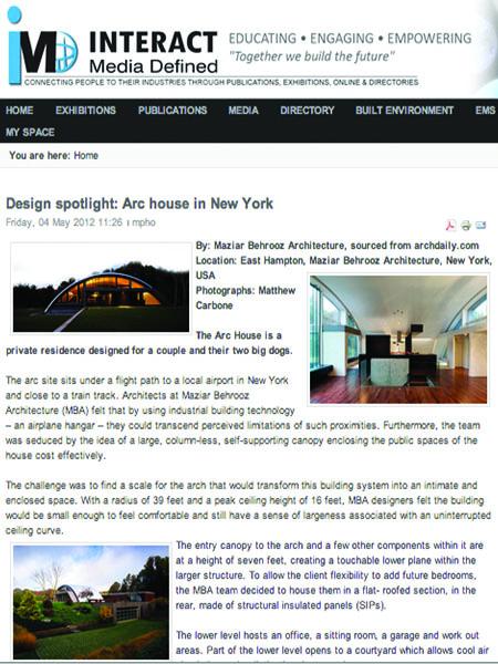 2012.1 Tech in Arch Design Spotlight