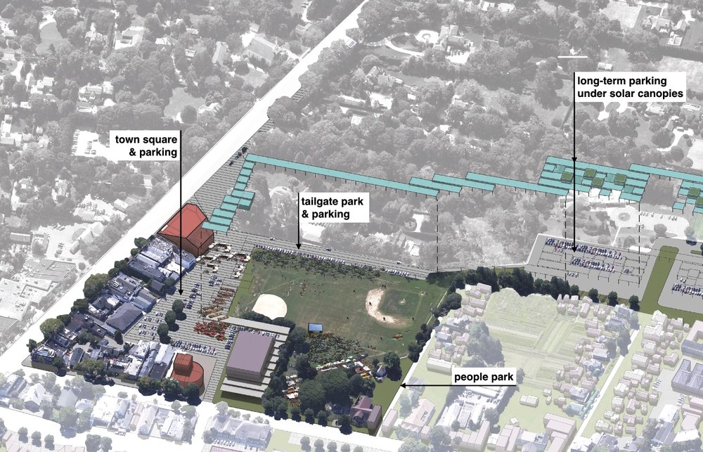 Intersection of Main street and Newtown lane: Reutershan Parking Lot & Herrick Park, East Hampton, NY