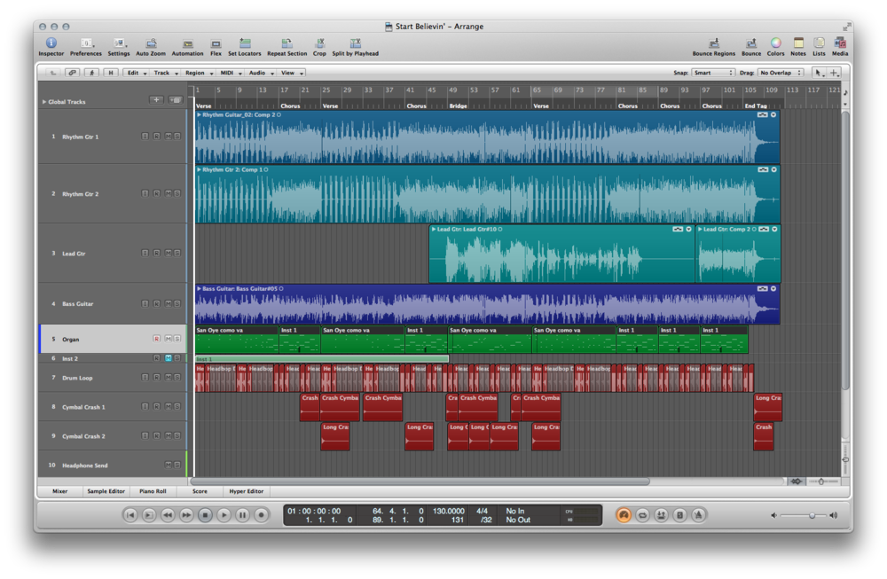 Start Believin' Logic Pro Session - click to enlarge