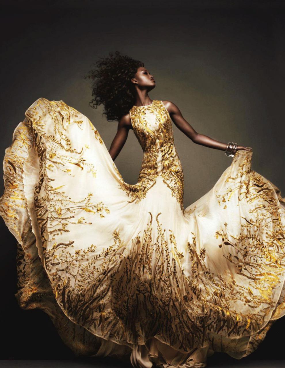 Zimbabwean model Nyasha Matonhodze in Alexander McQueen.