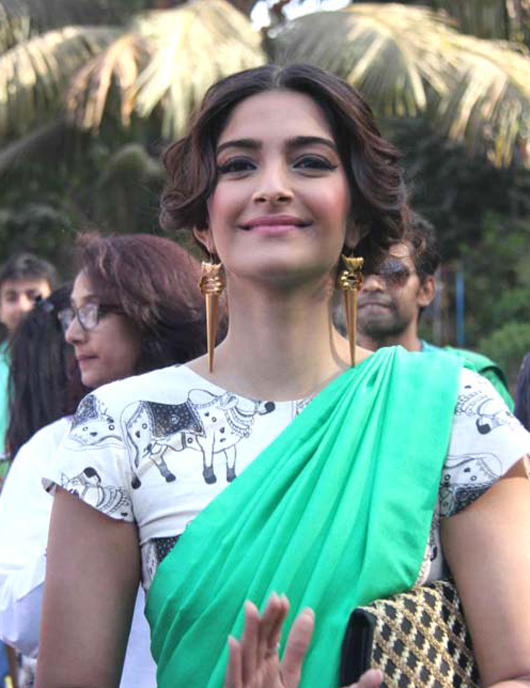 Actress Sonam Kapoor in Masaba Gupta cow print sari.