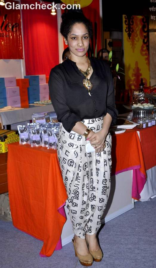Indian designer Masaba Gupta shows off her dhoti.