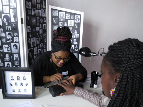 Nailwraps: Influence , Lesley Asare nail wrapping one of our SBA passengers