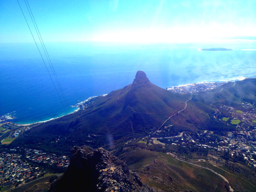 The view across Cape Town from inside the cable.