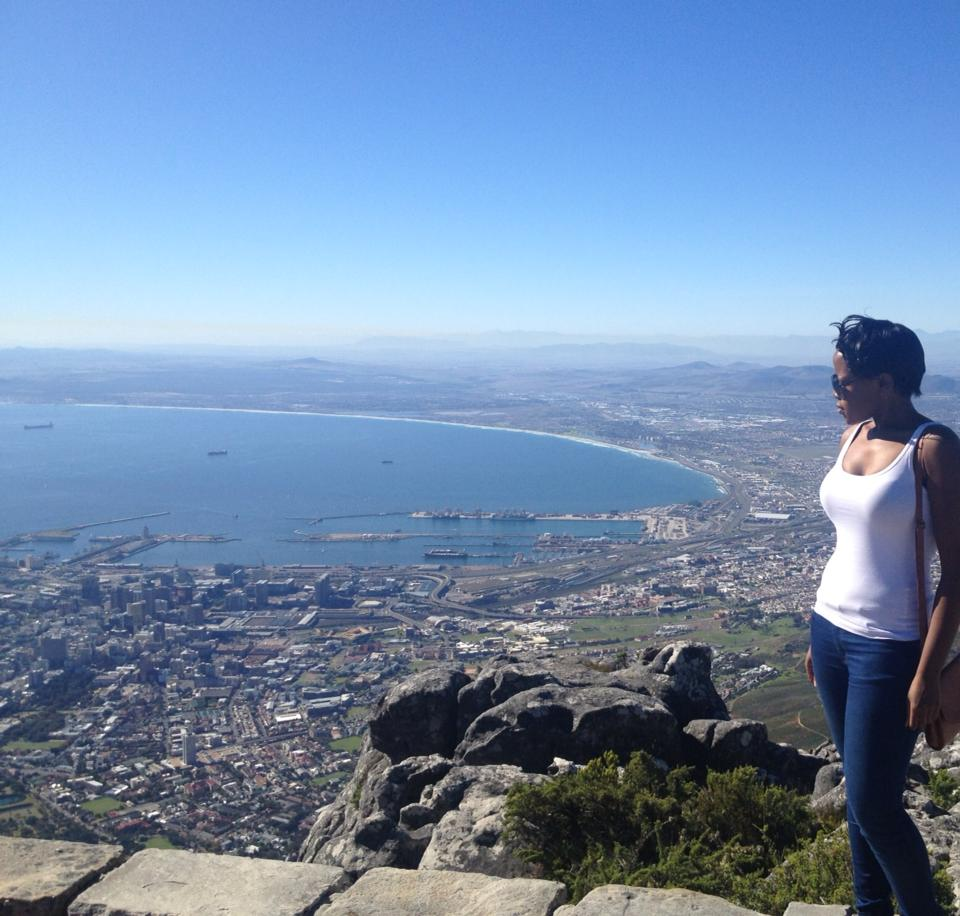 Barbara having a Mufasa moment looking over Cape Town