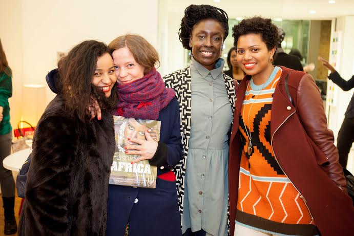 Hugging up on featured designers Annegret Affolderbach of Choolips and Ezrumah Ackerson from Bestow Elan at the Fashion Africa launch.