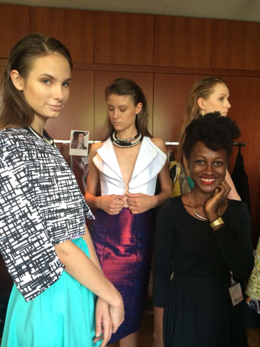 Netty Anang and models back stage. Image courtesy of ITC.