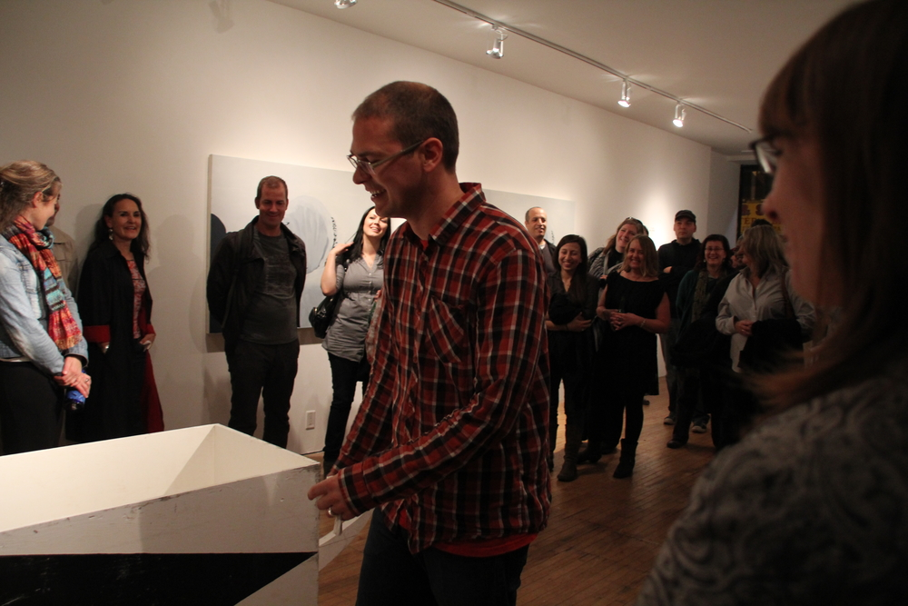 During a talk with curator Ryan Rice for the opening of 'drift'. October 14, 2011 Toronto Free Gallery 1277 Bloor Street West, Toronto    Image Credit:  Aube Giroux
