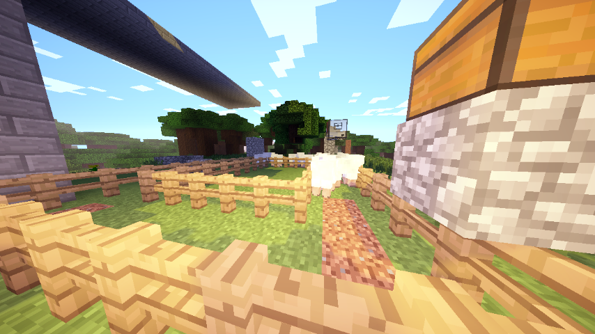 This is the farm with the most produce, and the one that hasn't been turned on in weeks (Minecraft weeks). It goes around, shearing the sheep, then depositing it into the chest.