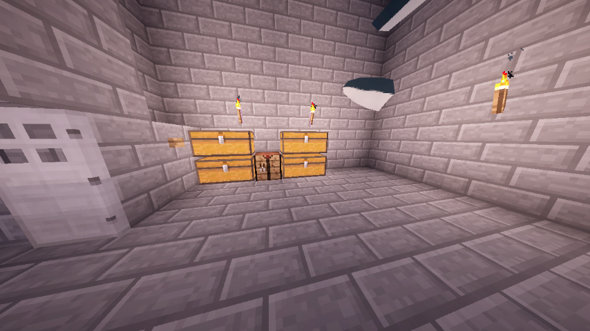 Here is the third floor. These chests were the ones that were once inside my house, but were moved out via pipes. This is also where I keep my plane. You can see a bit of it glitching in the wall.