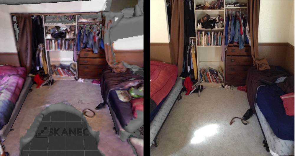 You can see the 3D scanned model on the left, and the real room on the right. Yes, the room is that messy because it makes it easier to scan, and not for any other reason (maybe).