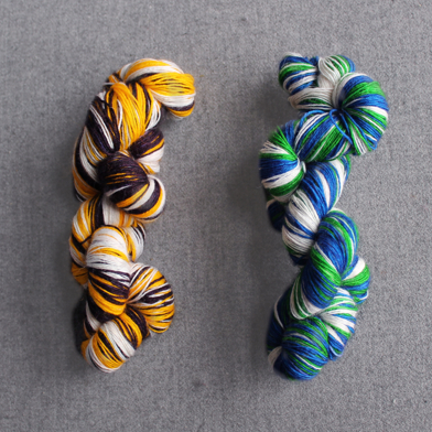 Boston Bruins and Vancouver Canucks Inspired Self-Striping Yarn by RainCityKnits