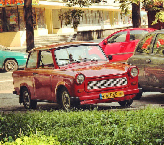 Iconic Trabant car produced during Communist times in Eastern Germany. It is now used to shuttle around tourists who seek to experience a bit of a bygone era.
