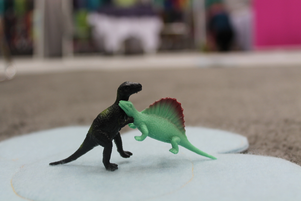 Miriam also handed out these tiny dinos so here are two, engaged in a battle-royale! DINOPARTY!