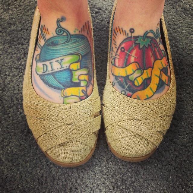Deisgner Emma Welford's feet.