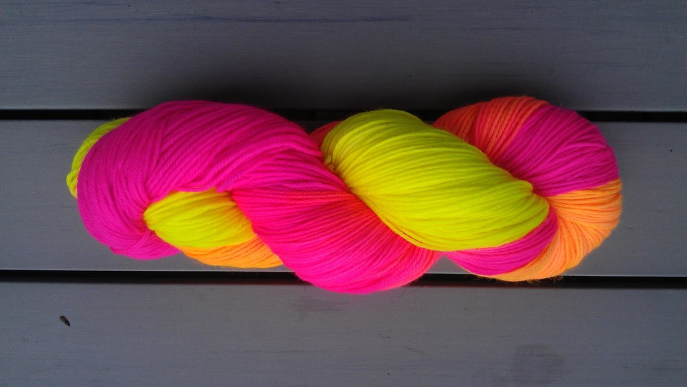 Glow Stick Party Yarn - Also  75% Superwash Merino Wool +  25% Nylon + 100% Awesome