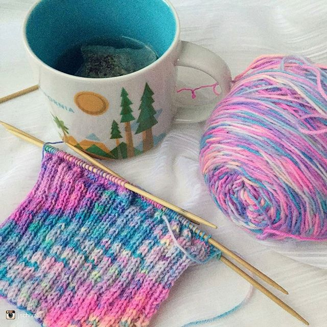 Photo by @jschival  Our Kaleidoscope Sock yarn knit up all crazy. Love the colourful chaos  Still some sparkle base available too!