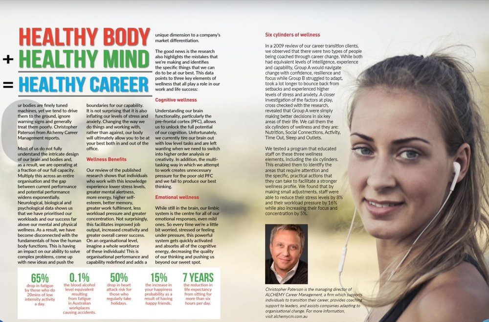HEALTHY BODY + HEALTHY MIND = HEALTHY CAREER   WORK LIFE MAGAZINE  Three elements of wellness and the impact on your career.