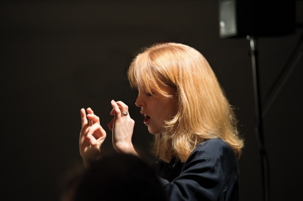 "Composer Maria Schneider conducts the Australian Chamber Orchestra during recording sessions for ""Winter Morning Walks,"" Academy of Arts and Letters, New York, NY, May 2 and 3, 2012."