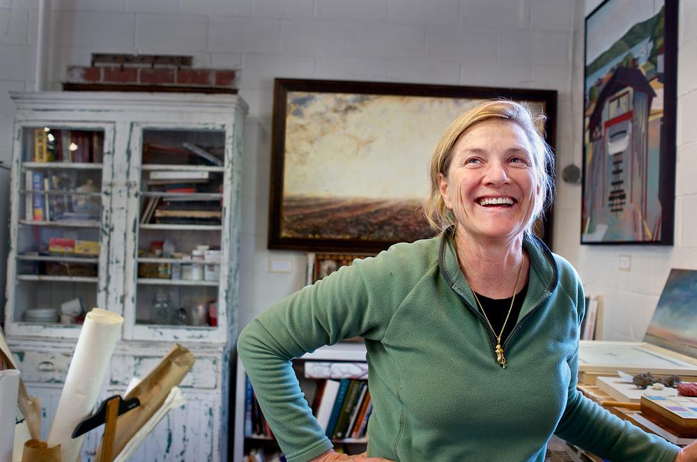 The artist in her boatyard studio, Greenport NY.