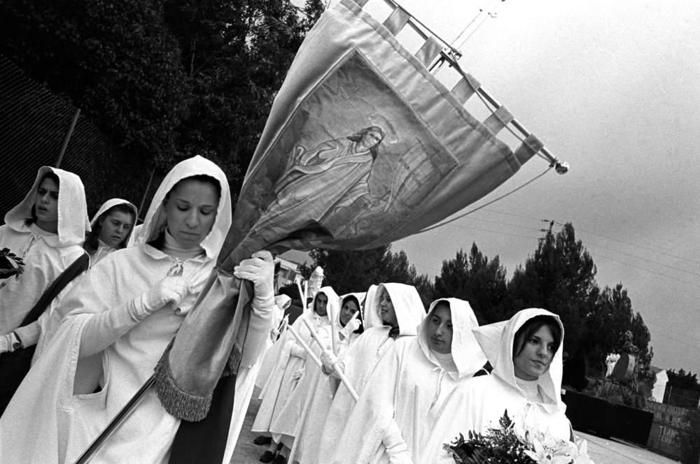 Devotees muster before a procession, Marsala, Sicily